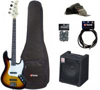 E-bass set Eastone JAB +Eden EC8 +Accessories - 3 tone sunburst