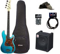 E-bass set Eastone PRB +Eden EC8 +Accessories - Metallic light blue