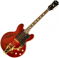 Semi-hollow e-gitarre Epiphone Riviera Custom P-93 - Wine red