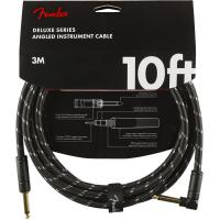 Kabel Fender Deluxe Instrument Cable, Straight/Angle, 10ft - Black Tweed