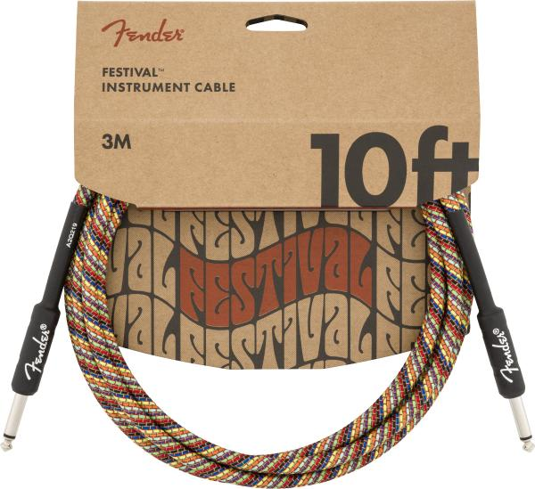 Kabel Fender Festival Pure Hemp Instrument Cable, Straight/Straight, 10ft - Rainbow