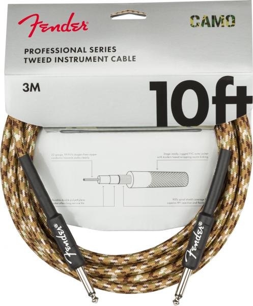 Kabel Fender Professional Series Instrument Cable, Straight/Straight, 10ft - Desert Camo