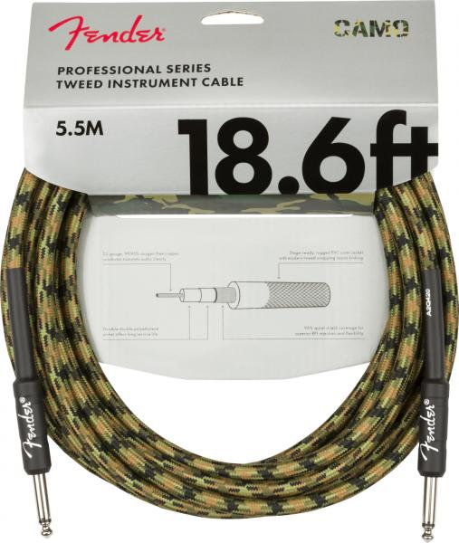 Kabel Fender Professional Series Instrument Cable, Straight/Straight, 18.6ft - Woodland Camo