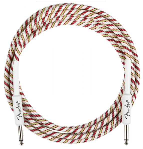 Kabel Fender Yuletide Holiday Instrument Cable, Straight/Straight, 10ft - Multi Color