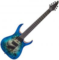 Solidbody e-gitarre Mayones guitars Duvell Elite V-Frets 7 (Bare Knuckle) - Jeans Black 3-Tone Blue Burst Satin