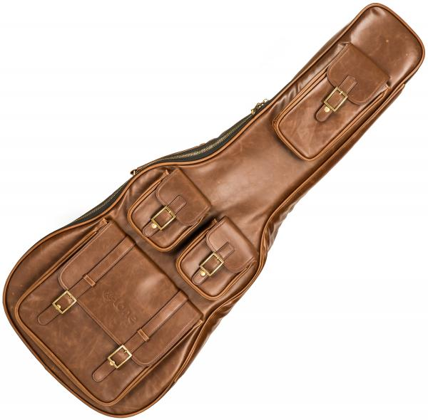 Westerngitarretasche X-tone 2035 FOL-BN Deluxe Leather Acoustic Dreadnought Guitar Bag - Matt Brown