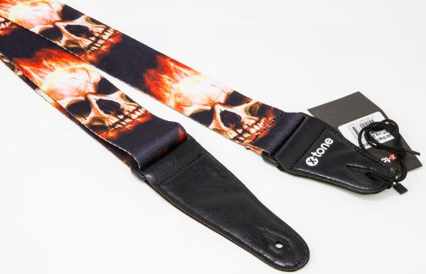 Gitarrengurt X-tone XG 3101 Nylon Guitar Strap Skull With Flame - Black & Red